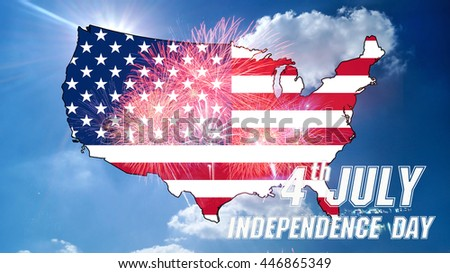 United States flag On the bright sky Celebrating Independence Day. Map with flag of the United States of America .
