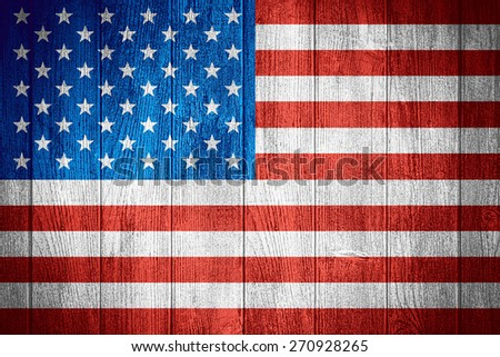 United States flag or American banner on wooden boards background