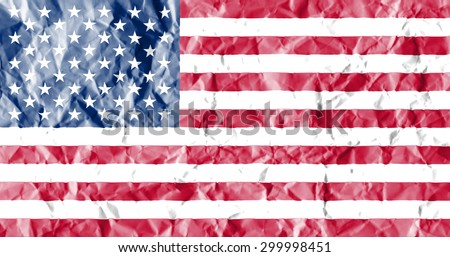 United States flag painted on crumpled paper background. - stock photo