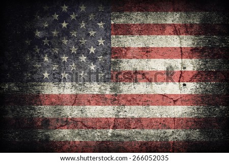 United States flag pattern on dirty old concrete wall texture ,retro vintage style - stock photo