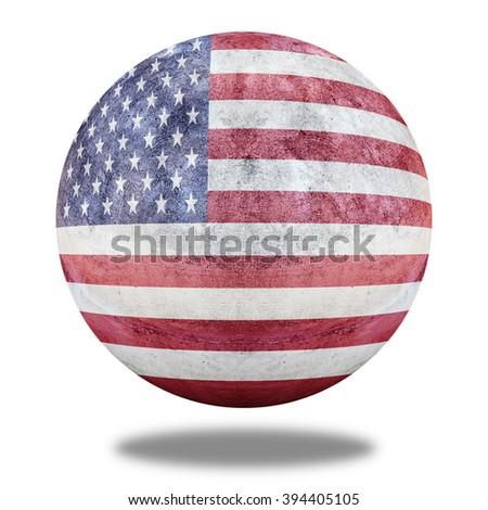 United States flag pattern on stone circle shape texture - stock photo