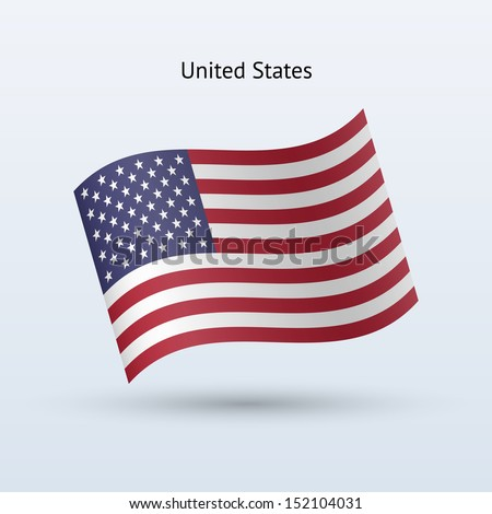 United States flag waving form. See also vector version. - stock photo