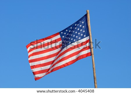 United States Flag with Blue Sky