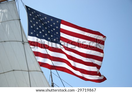 United States Flag with Ship Sail - stock photo