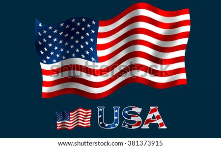 United States flag with USA text and copypace / US flag with USA text and Black space