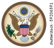 United States Great Seal, coat of arms or national emblem, isolated on white background. Pictured here in Obverse side. - stock photo