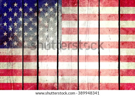 United States grunge wooden flag. United States flag painted on the old wooden planks. Vintage retro picture from my collection of flags. - stock photo