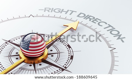 United States High Resolution Right Direction Concept - stock photo