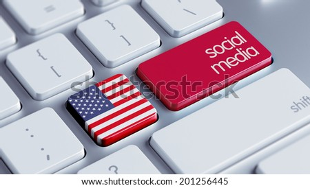 United States High Resolution Social Media Concept - stock photo