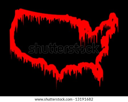 United States in blood (conceptual, map) - stock photo