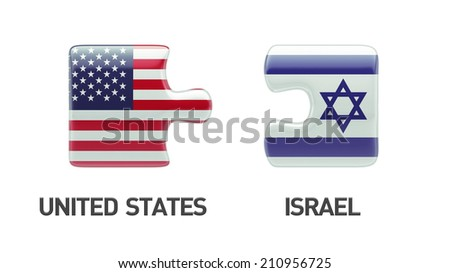 United States Israel High Resolution Puzzle Concept - stock photo