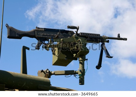 United States Machine Gun, 7.62mm, M240, belt-fed medium machine gun - stock photo