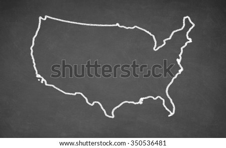 United States map drawn on chalkboard. Chalk and blackboard.