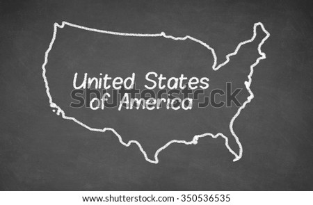 United States map drawn on chalkboard. Chalk and blackboard. - stock photo