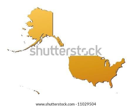 Detailed Map Usa Black White Mercator Stock Illustration - Us map mercator