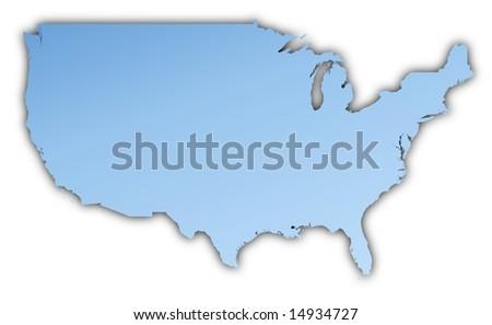 United States Map Light Blue Map Stock Illustration - Us map mercator