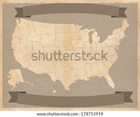United States map on vintage parchment with banners - stock photo