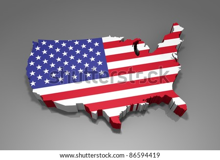 United States map with flag - 3d render - stock photo