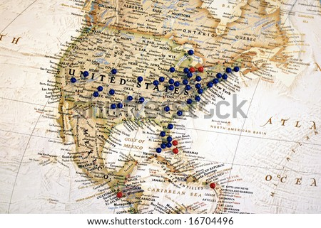 United States Map with Map Tacks - stock photo
