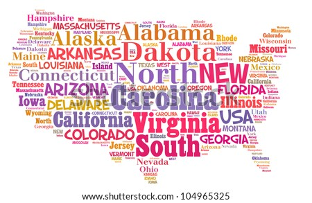 UNITED STATES map words cloud of major cities with a white background - stock photo