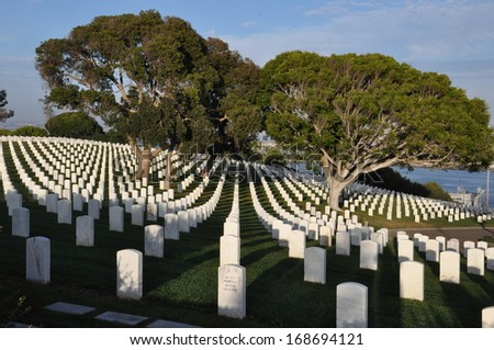 United States Military Cemetery in Point Loma in San Diego, California - stock photo