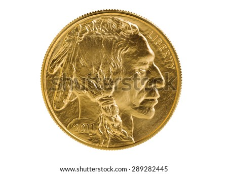 United States Mint issued gold coin with obverse side of American Buffalo coin, fine gold, isolated on pure white background. Coin in pristine condition shot in studio with macro lens. - stock photo