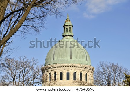 United States Naval Academy Chapel Dome, Annapolis, Maryland Horizontal With Copy Space - stock photo