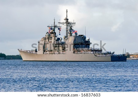 United States Navy surface guided-missile cruiser ship USS Lake Erie - stock photo