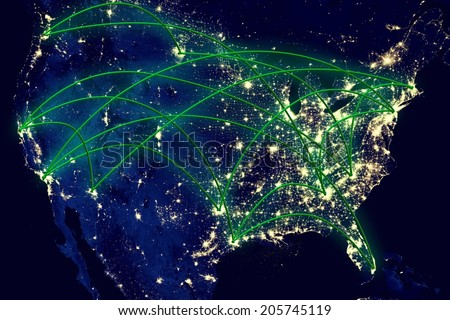 United States network night map from space. Elements of this image furnished by NASA. - stock photo
