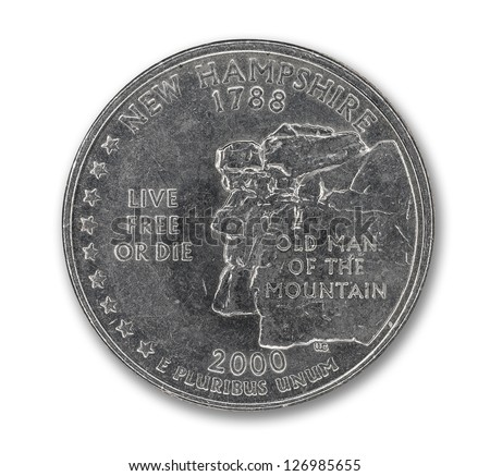 United States New Hampshire quarter dollar coin on white with path outline - stock photo
