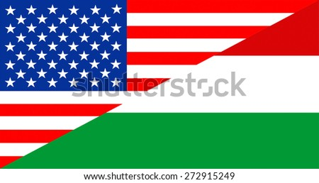 united states of america and hungary half country flag - stock photo