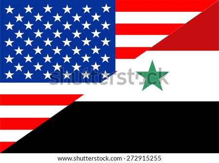 united states of america and syria half country flag - stock photo