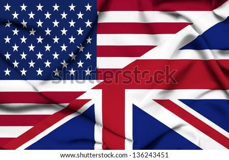United States of America and United Kingdom waving flag - stock photo