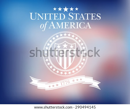United States of America Background - United States of America with Shield and Stars - Raster Version - stock photo