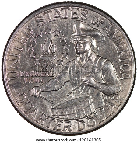 United States of America Bicentennial Quarter Reverse Showing a Colonial Drummer and a Victory Torch Circled by 13 Stars Isolated - stock photo