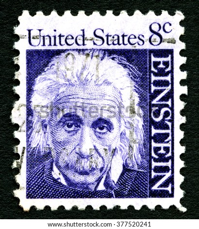 UNITED STATES OF AMERICA - CIRCA 1965: A postage stamp with a portrait of famous physicist Albert Einstein (1879-1955), commemorating the 10th year since his death, printed in America, circa 1965.