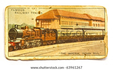 UNITED STATES OF AMERICA - CIRCA 1970: A Postcard printed in the United States shows image of Famous railway trains.circa 1970 - stock photo