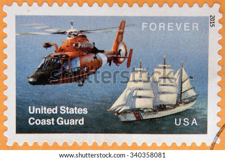 UNITED STATES OF AMERICA - CIRCA 2015: A stamp celebrating the work of the US Coastguard - stock photo