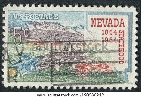 United States of America-Circa 1964: A stamp commemorating the centennial of Nevada's statehood.
