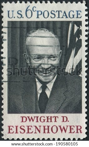 United States of America-Circa 1969: A stamp honoring former President Dwight D Eisenhower.