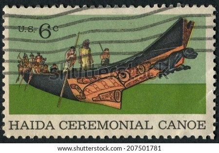 United States of America-Circa 1970: A stamp issued depicting a Haida Ceremonial Canoe of the Haida Indigenous People. - stock photo