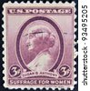 UNITED STATES OF AMERICA - CIRCA 1936: A stamp printed by USA shows a profile of Susan B Anthony, circa 1936. - stock photo