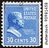 UNITED STATES OF AMERICA - CIRCA 1938: a stamp printed in the United States of America shows Theodore Roosevelt, 26th President of USA 1901-1909, circa 1938 - stock photo