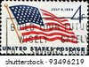 UNITED STATES OF AMERICA - CIRCA 1959: A stamp printed in the United States of America shows Inauguration of New United States Flag, circa 1959 - stock photo