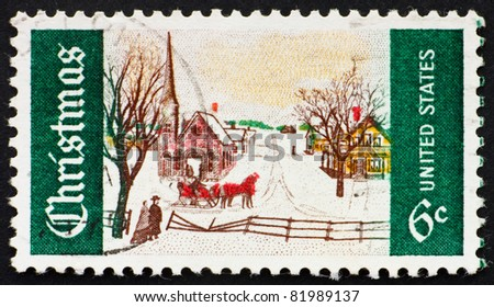 UNITED STATES OF AMERICA - CIRCA 1969: A stamp printed in the United States of America shows  Winter Sunday in Norway, Maine Issue, circa 1969