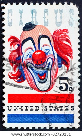 UNITED STATES OF AMERICA - CIRCA 1966: A stamp printed in the United States of America shows a Clown honoring the American circus on the centenary of the birth of John Ringling, circa 1966