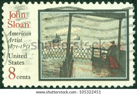 UNITED STATES OF AMERICA - CIRCA 1971: A stamp printed in the United States of America shows image celebrates 100 years since the birth of John Sloan, the American artist, circa 1971