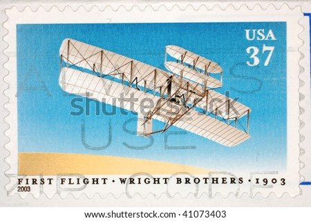 UNITED STATES OF AMERICA - CIRCA 2003: A stamp printed in the United States of America shows image celebrating the 100th anniversary of the first flight by the Wright Brothers, series, circa 2003 - stock photo