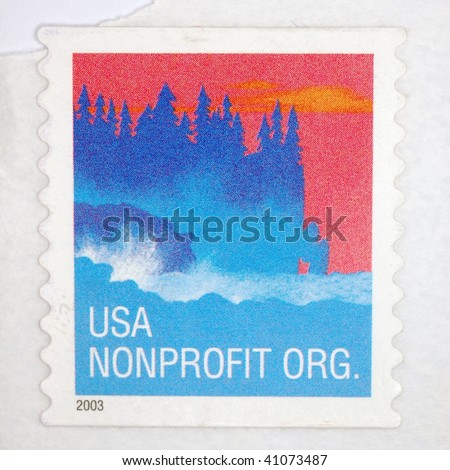 UNITED STATES OF AMERICA - CIRCA 2003: A stamp printed in the United States of America shows image celebrating US non-profit organizations, series, circa 2003 - stock photo