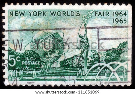 UNITED STATES OF AMERICA - CIRCA 1964: a stamp printed in the United States of America shows Mall with Unisphere and rocket thrower, by Donald De Lue from New York World's fair 1964, circa 1964 - stock photo